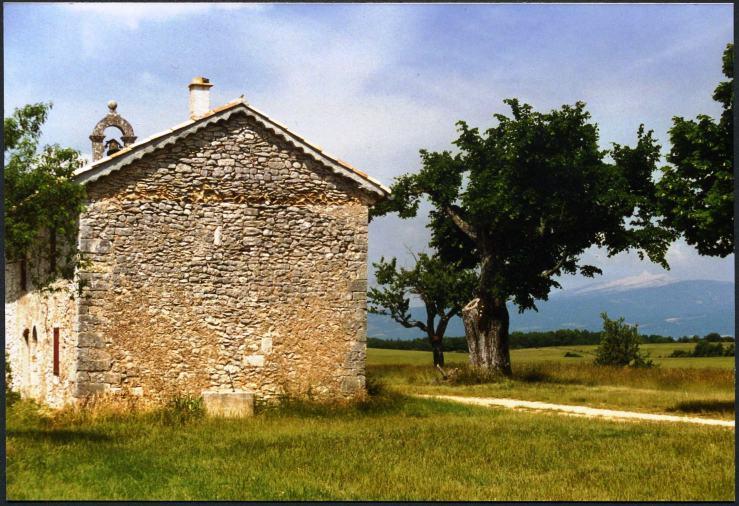 Ein einsamer Ort in den savannenartigen Weiten der französischen Haute Provence. Wir haben ihn seit Juni 1996 immer wieder aufgesucht, meine Frau und ich, haben hier viele Stunden lang an sehr heißen Tagen im Schatten blühender Lindenbäume gelagert und Kraft aus der Natur geschöpft. Im Hintergrund der Mont Ventoux, der Windberg, fast 2000m hoch.