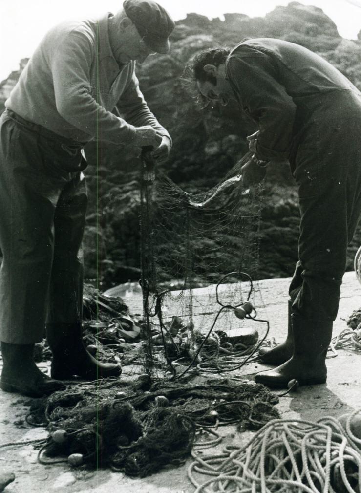 Bretonische Fischer in Plogoff (Bretagne)