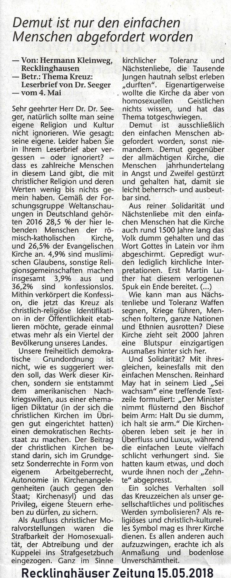 Mh. Bauer, Marl, Leserbrief zu Christentum u. Kirchen, 15.05.2018