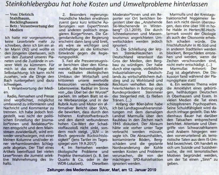 Gekürzter Leserbrief zur Verantwortung der Medien,12.01.2019